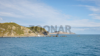 Cook Strait New Zealand with lighthouses
