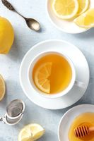 Lemon tea and honey, shot from above. Natural remedy