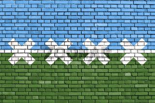 flag of Cedar Park, Texas painted on brick wall