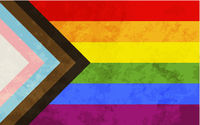 Progress pride flag with grunge texture, LGBT community sign