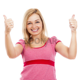 Young happy woman thumbs up