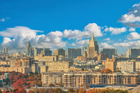 Moscow Russia, city skyline view from Sparrow Hill with autumn foliage season
