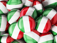 Stack of buttons with Italian flag. 3D illustration
