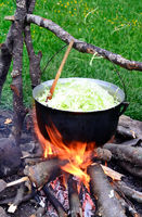 Cauldron with cabbage cooking on fire
