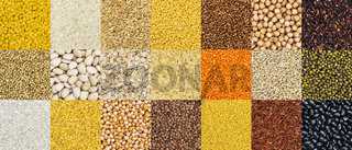 Pattern of different cereals, grains, rice and beans backgrounds