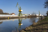 Crane at the harbor of the, Datteln-Hamm-Canal, Luene, Ruhr area,