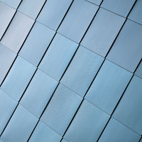 Stainless steel facade cladding on a modern building in downtown Magdeburg in Germany