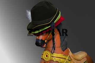 Wooden horse toy with hats