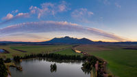 colorful sunset by the pond below the Tatras