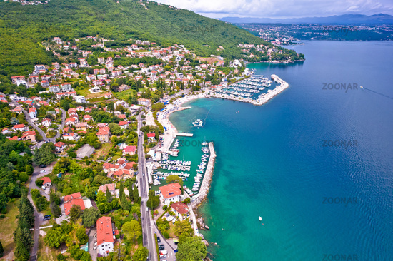 Icici beach and waterfront in Opatija riviera aerial view