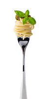 spaghetti on fork on white background