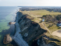 Drone View of Spodsbjerg Lighthouse and Coastline