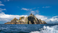 Panorama with Little Skellig island with heaped mountains, habitat of Gannets