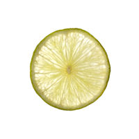 single slice of lime isolated on white