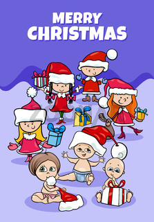 design or card with cartoon children on Christmas time