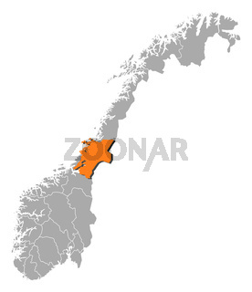 Map of Norway, Nord-Trøndelag highlighted