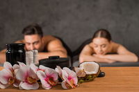Couple relax at the spa salon
