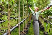 Junge Frau als glückliche Gärtnerin in der Baumschule