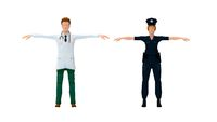 3D rendering of a polica woman in uniform and a doctor medical specialist.