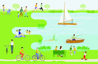 Leisure and recreation at the lake illustration, vector