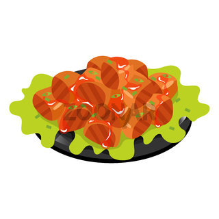 Chinese pork in sweet and sour sauce color icon. Asian meat dish with spices. Eastern traditional cuisine. Braised pork squares with garlic and vegetables. Isolated vector illustration