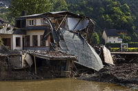 Destroyed house on the Nepomuk bridge with the Ahr river, flood disaster 2021, Rech, Germany, Europe