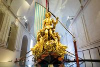 The Bucentaur (Bucintoro). Antique Royal ship of Savoia family. Venaria Reale, Italy