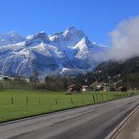 Spring morning in the Saanenland valley, Switzerland.