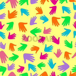 Colorful vector pattern with illustration of a people s hands with different skin color together.