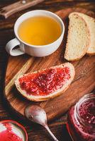 Toast with homemade raspberry jam