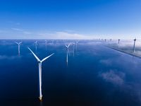 offshore windmill park with clouds and a blue sky, windmill park in the ocean drone aerial view with wind turbine Flevoland Netherlands Ijsselmeer