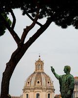 Bronze Statue of Nero Claudius Caesar Augustus Germanicus. Trajan's Forum, Rome, Italy