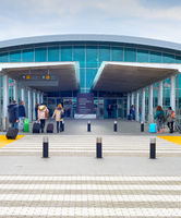 People entrance Larnaca Airport Cyprus
