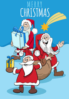 design or card with cartoon Santa Claus on Christmas time