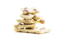 White nutty chocolate with hazelnuts