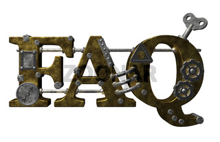das wort faq im steampunk-look - 3d illustration