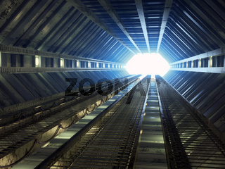 Sci-fi corridor leading to light