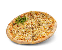Pizza with cheese and tomato sauce isolated on white background. chicken meal and parmesan topping.