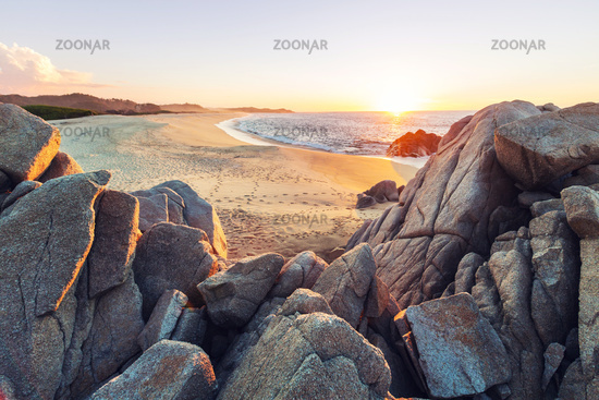 Sandy beach at sunrise