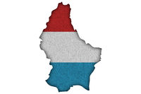 Karte und Fahne von Luxemburg auf Filz - Map and flag of Luxembourg on felt