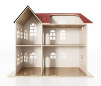 Classic wooden dollhouse isolated on white background. 3D illustration