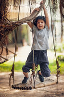 Boy having fun on the swing