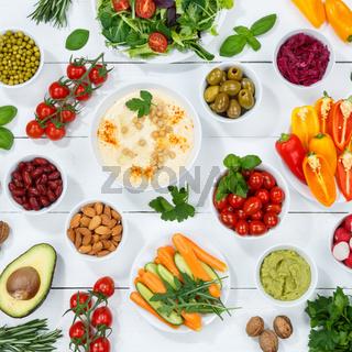Gemüse Hintergrund vegane gesunde Ernährung vegan gesund bio clean eating Essen Holzbrett Quadrat