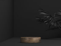 abstract wooden template as presentation stage with leaf shadow in front of background - 3D Illustration