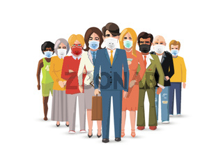 International business team wear masks to protect from COVID on white, concept horizontal flat illustration