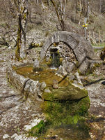 sheepherder-fountain on the swabian alps, germany