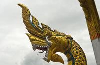 Head of a mythological Naga serpent, Temple Wat Nong Sikhounmuang, Luang Prabang, Laos
