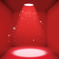 Red luxury empty space of the square box with bright light source