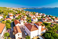 Zadar. Village of Diklo church and coastline in Zadar archipelago aerial view
