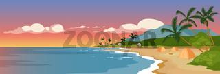 Tropical sandy beach flat color vector illustration